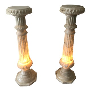 Vintage White Marble Pedestals Hollywood Regency Style- a Pair For Sale