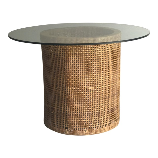 Vintage Contemporary Rattan & Glass Top Table For Sale