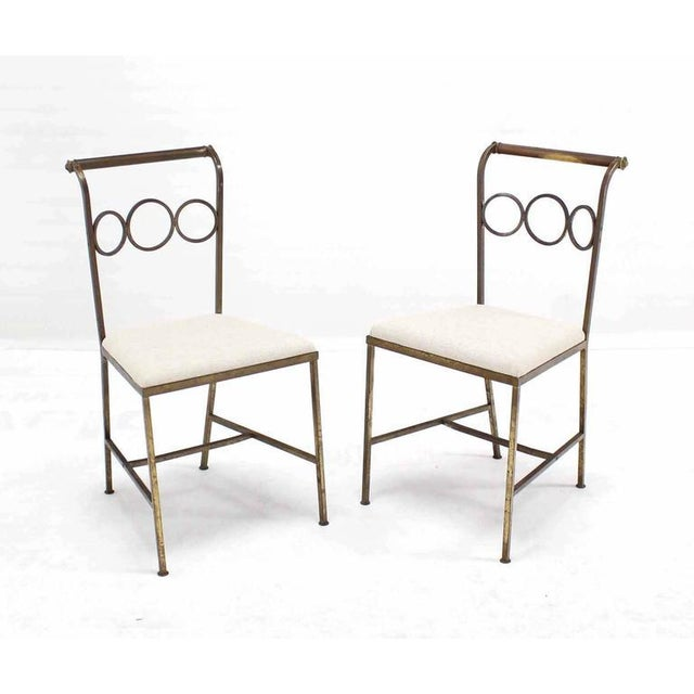 Set of Six Rare Brass Dining Side Chairs in Style of Jean Royère For Sale In New York - Image 6 of 8