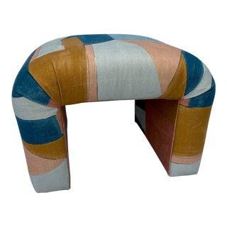 Vintage Colorful Upholstered Ottoman For Sale