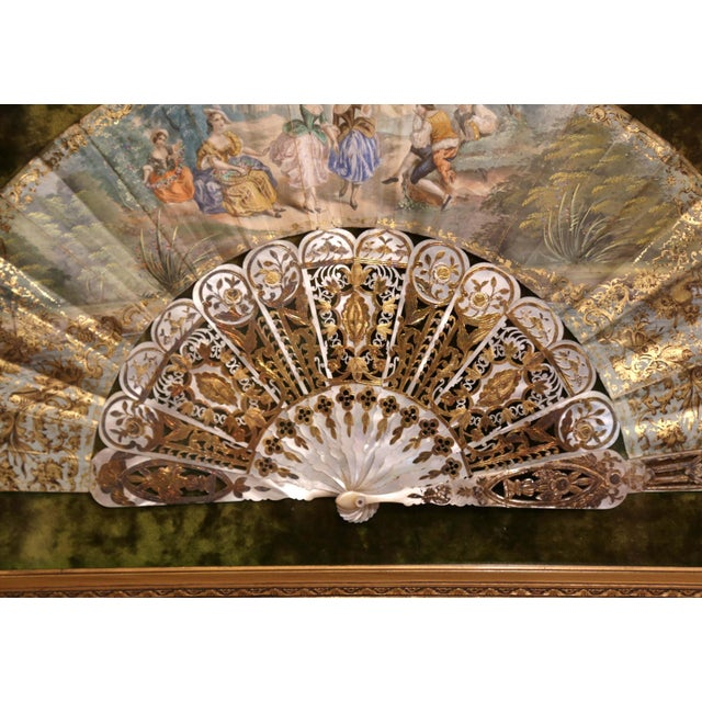 Late 18th Century 18th Century French Painted Paper and Mother of Pearl Fan in Gilt Glass Frame For Sale - Image 5 of 8