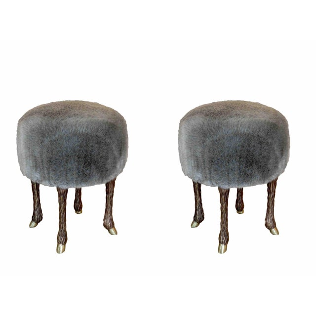 "Marc Bankowsky Stool ""Goat Feet"" Patinated bronze, grey velvet mohair France, Contemporary creation by french artist and..."