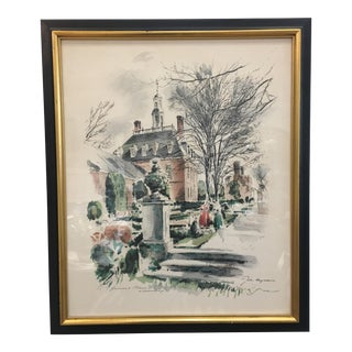 "Vintage John Haymson ""The Governor's Palace"" Watercolor Painting"