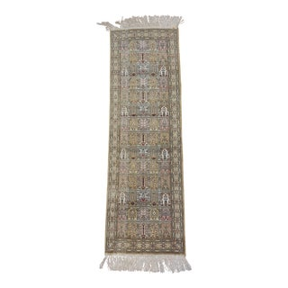 Antique Persian Silk Runner - 1′ × 3′5″ For Sale