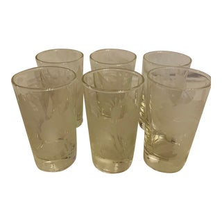 Vintage Frosted Hawaiian Floral Garden Glasses - Set of 6 For Sale