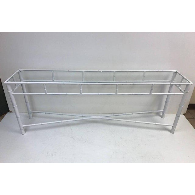 Modern Long Faux Bamboo Console Table For Sale - Image 3 of 5