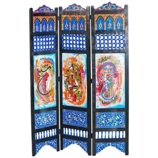 Hand-Painted Moroccan Room Divider or Folding Screen For Sale