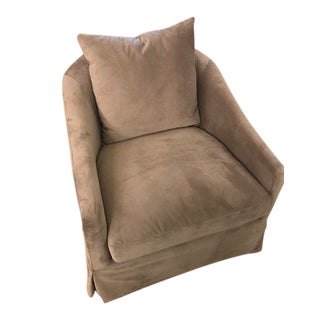 Modern Gray Velvet Barrel Chair For Sale