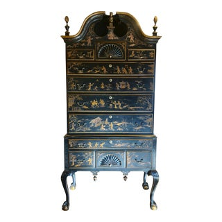 Late 19th Century Bonnet Top Japanned Highboy For Sale