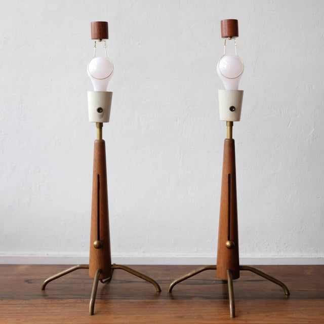 Walnut and Brass Gerald Thurston Adjustable Height Lamps For Sale In San Diego - Image 6 of 10