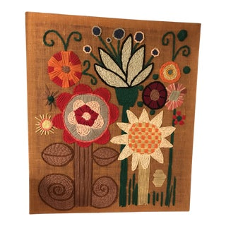 Large Mid-Century Wool Embroidery Wall Hanging