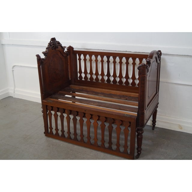 Brown Antique Walnut American Renaissance Baby/Doll Crib For Sale - Image 8 of 10
