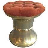 Image of 1970s Vintage Mastercraft Chunky Brass Stool For Sale