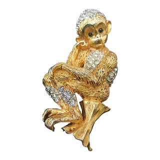 Whimsical Jeweled Gilt Metal Monkey Brooch C 1960 For Sale