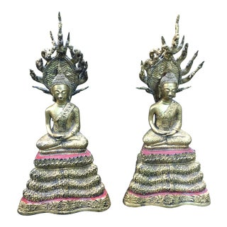 Thai Buddha Statue Gilt Bronze a Pair For Sale