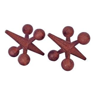 Vintage Jacks Cast Iron Table Sculptures - a Pair For Sale