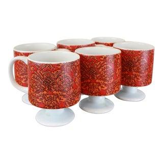 Modernist Red Floral Print Japanese Mugs - Set of 6 For Sale