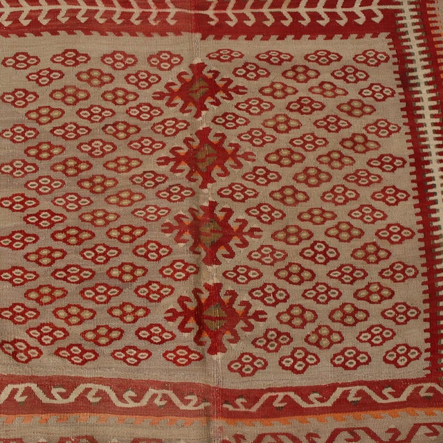 Textile Vintage Kayseri Red and Brown Wool Kilim Rug For Sale - Image 7 of 9