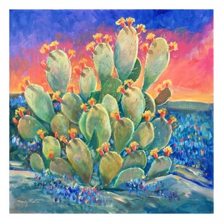 Sunset Cactus With Bluebonnets Painting For Sale