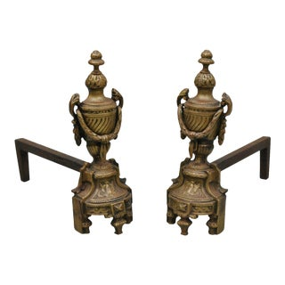 Antique French Louis XVI Style Urn Form Fireplace Andirons - a Pair For Sale