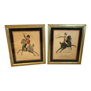 Vintage Mid-Century Colored Cavalry Etchings - A Pair For Sale