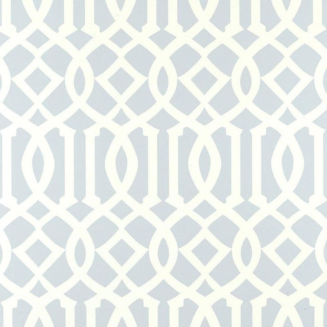 Schumacher Schumacher Imperial Trellis Wallpaper in Soft Aqua Blue - 2-Roll Set (9 Yards) For Sale - Image 4 of 4