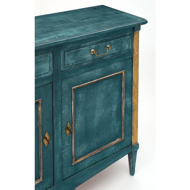 Antique Directoire Style Teal Buffet For Sale - Image 9 of 10