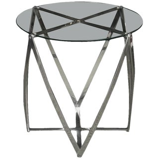 A John Vesey Aluminum & Glass-Top Round Side Table For Sale
