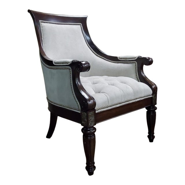Thomasville Furniture Ernest Hemingway Anson Tufted & Leather Accent Chair For Sale