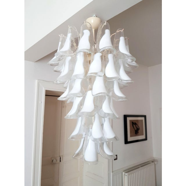 Mazzega Murano White Mid Century Modern Murano Glass Chandelier, by Mazzega, 1970s- 2 Available For Sale - Image 4 of 10
