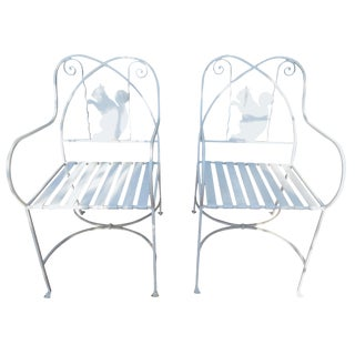 Vintage Patio or Garden Chairs, With Squirrel Backs For Sale