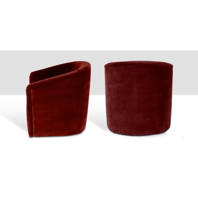 Stunning pair of stately barrel style tub chairs - newly upholstered in a hardy red slubbed velvet.