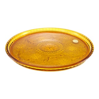 Amber Glass Rimmed Tray For Sale
