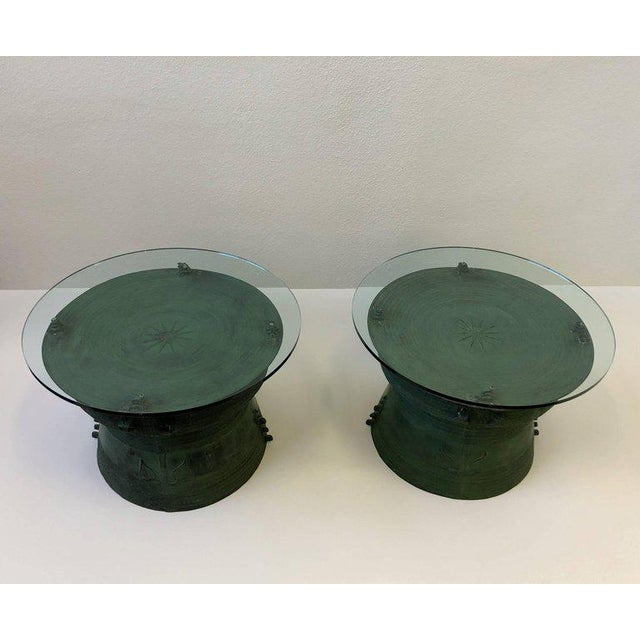 Mid 20th Century Pair of Bronze and Glass South Asian Rain Drum Tables For Sale - Image 5 of 11