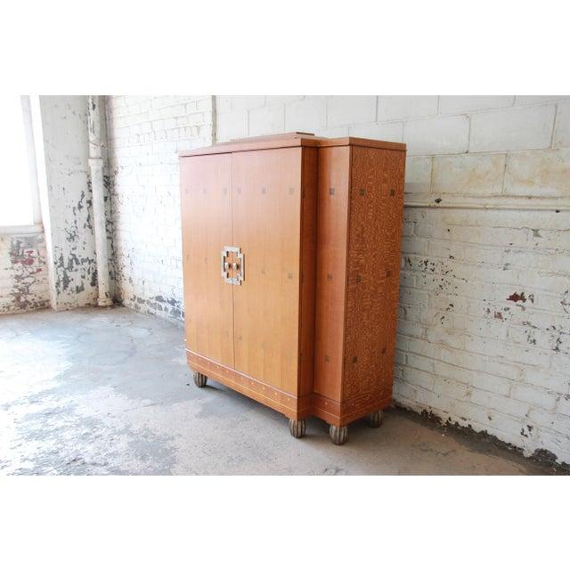 Baker Furniture Art Deco Style Burlwood Armoire - Image 4 of 11