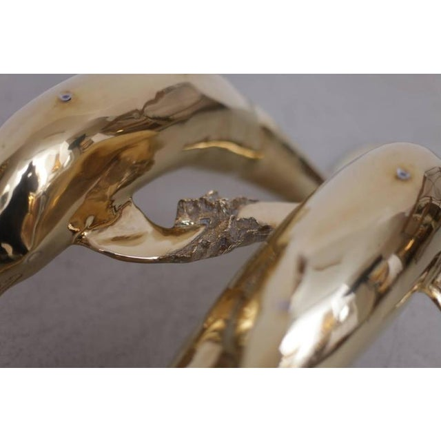 Metal Brass Coffee Table in Form of Two Dolphins For Sale - Image 7 of 10