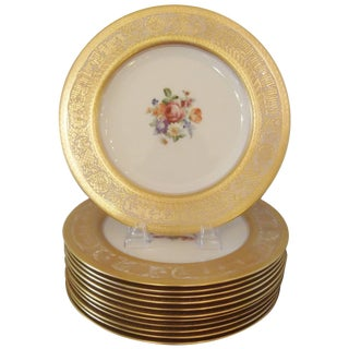 Set of 12 Gold Encrusted Floral Service Cabinet Plates For Sale