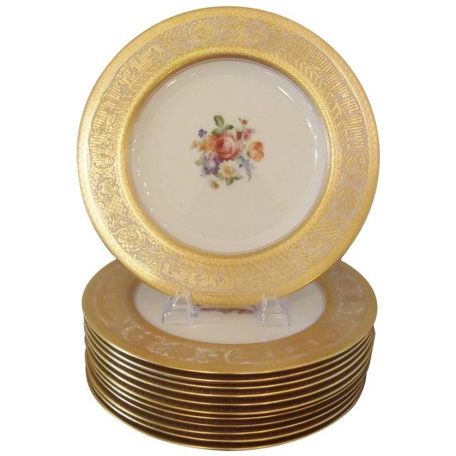 Set of 12 Gold Encrusted Floral Service Cabinet Plates For Sale