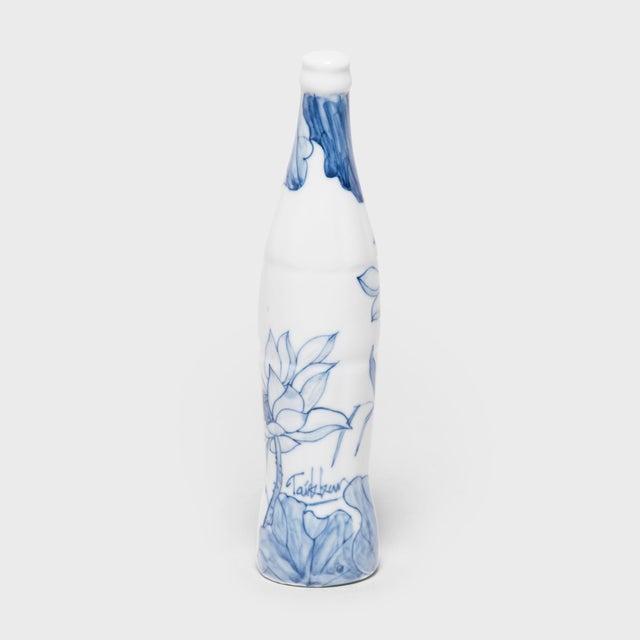 "Taikkun Li ""Buddha's Lotus"" Blue and White Cola Bottle by Taikkun LI For Sale - Image 4 of 5"