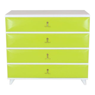 1960s Mid-Century Modern Lime Green White Lacquer Two-Tone Bachelor Chest of Drawers For Sale