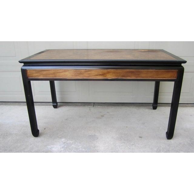 Asian Raymond Sobota Century Furniture Burl Wood Black Lacquer Writing Desk For Sale - Image 3 of 12