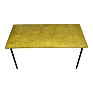 Raymor Danish Mid Century Modern Repousse Brass Table For Sale