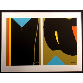 "1980s Matthew Ruddy ""Blue Pyramid 2"" Original Paper Collage For Sale"