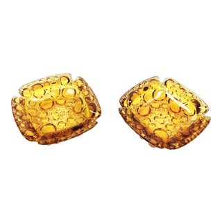 Vintage Mid-Century Blenko Amber Glass Bubble Ashtrays - a Pair