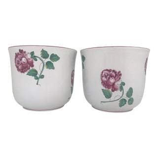 "Tiffany & Co ""Strausbourg Flowers"" Porcelain Cache Pots - a Pair For Sale"