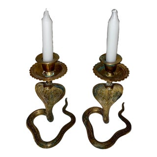 Brass Cobra Candlesticks - a Pair For Sale