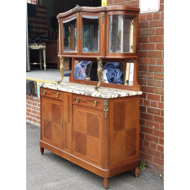 Boxwood 1950s French Louis XVI Style Walnut & Marble Top Dinning Room Hallway Cabinet For Sale - Image 7 of 13