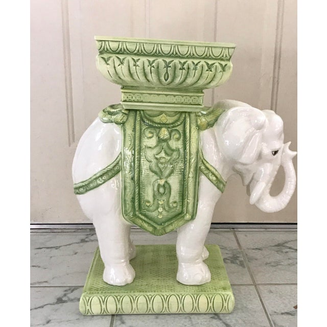 Vintage Bohemian Moroccan-Style White and Green Glazed Ceramic ...