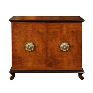 Exquisite Bookmatched Elm and Mahogany Cabinet by John Stuart, Circa 1940 For Sale