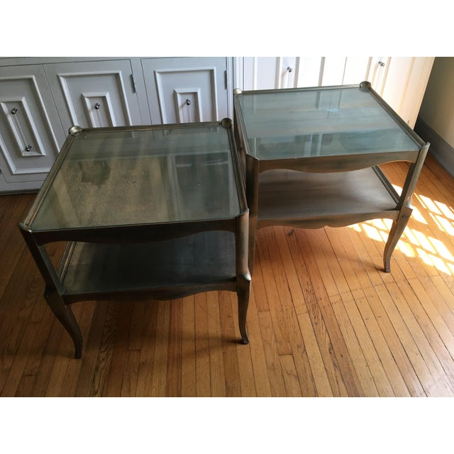 Wood Leafed Glass Top Side Tables - a Pair For Sale - Image 7 of 13